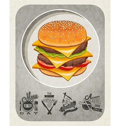 artistic burger design vector image