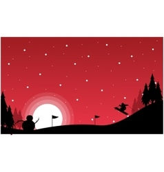 At night Christmas landscape with snowman vector image