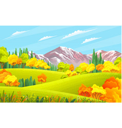 Autumn landscape with mountains green hills vector