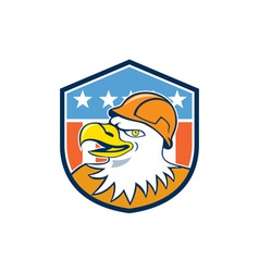 Bald Eagle Construction Worker Head Flag Cartoon vector