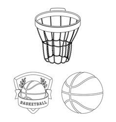 Basketball and attributes outline icons in set vector