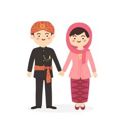 betawi jakarta indonesia couple cartoon vector image
