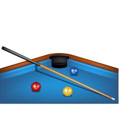 Billiard table with billiard cue and billiard ball vector