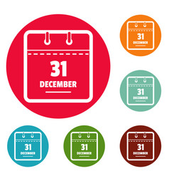 calendar thirty first december icons circle set vector image