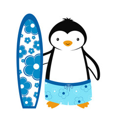Cartoon card with penguin summer with penguin vector
