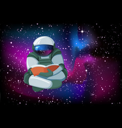 cartoon floating astronaut reading a book on vector image