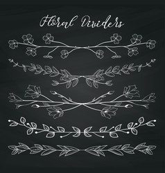 Chalk drawing dividers with branches plants and vector