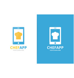 chef hat and phone logo combination vector image