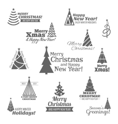 Christmas tree stamps set black vector