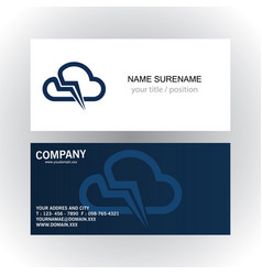 cloud technology company logobusiness card vector image