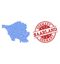 Collage map of saarland state with connected dots vector