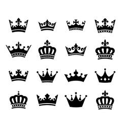 collection 16 crown silhouette symbols vector image