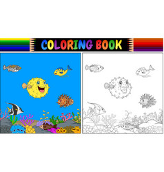 coloring book various fish undersea vector image