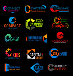 Corporate identity c colorful business icons vector