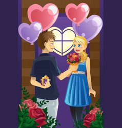 couple on valentines day vector image
