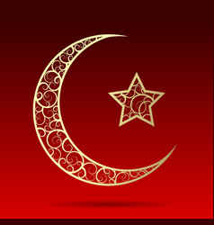 Crescent gold moon with star isolated on dark red vector