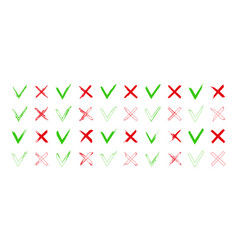 cross and tick icons mark right or wrong brush vector image