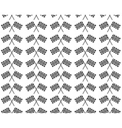 crossed waving black and white checkered flags vector image