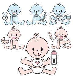cute baboys and girls set vector image