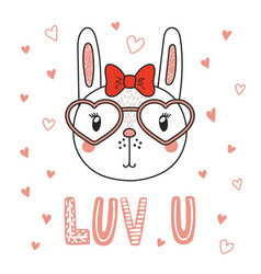 Cute bunny in heart shaped glasses vector