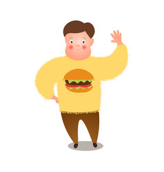 Cute fat man say hello to all people yellow vector