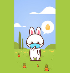 cute rabbit wearing face mask to prevent vector image