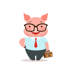 Cute smiling pig businessman funny cartoon animal vector