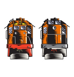Diesel Train Front Rear Woodcut Retro vector