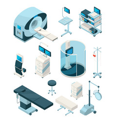 different hospital equipment medical tables and vector image