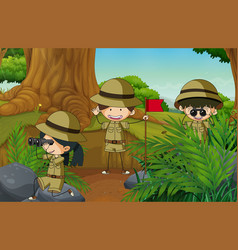 doodle camping kids in nature vector image