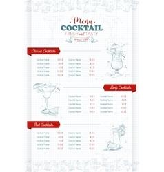 Drawing vertical cocktail menu design vector