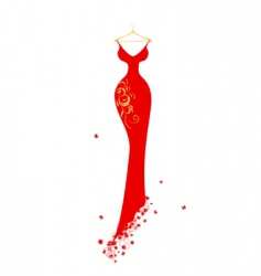 evening dress red on hangers vector image