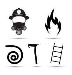 Fire fighter equipment icons set isolated vector