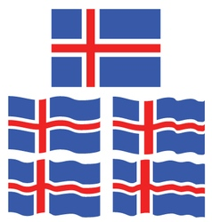 Flat and Waving Flag Of Iceland vector image