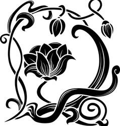 Flower stencil decorative element in art nouveau vector