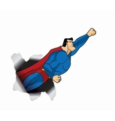Flying Superhero thru Large Hole Red cape blue vector