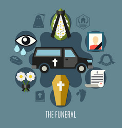 Funeral concept set vector