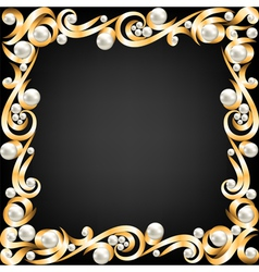 Gold jewelry frame and pearls vector