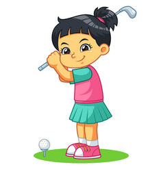 Golfer girl ready to shoot vector