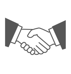 Gray Handshake Icon on White Background vector image