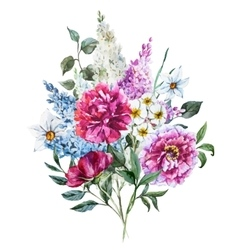 Hand drawn watercolor flowers vector image