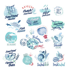 Hand drawn watercolor labels and badge of seafood vector