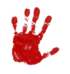 Hand paint print isolated white background red vector