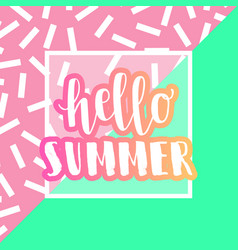 hello summer banner and promotional design poster vector image