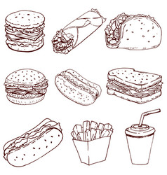 hot dog burger taco sandwich burrito set of fast vector image
