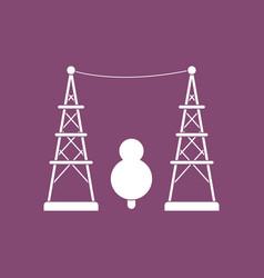 Icon tree between electric pole vector