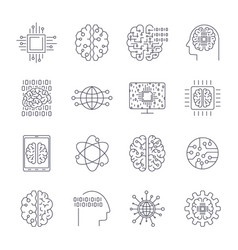 icons in contour thin and linear design vector image