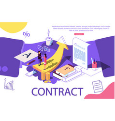 isometric concept investors holds money in vector image
