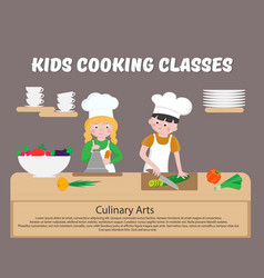 Kids cooking classes poster children cook vector