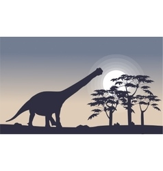Landscape of argentinosaurus and tre silhouettes vector